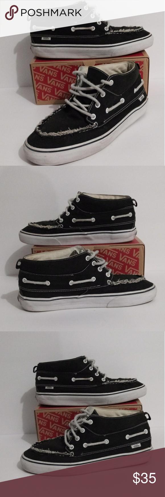 Vans Black Mid Skateboard Shoes Casual Mens 11 Men's Size 11   Vans Black Boat C…