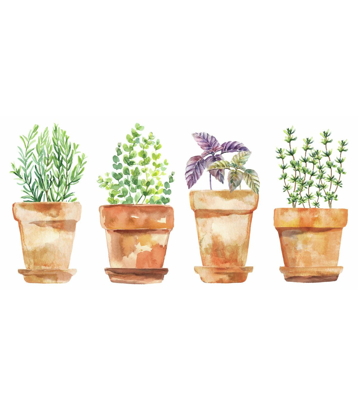York Wallcoverings Wall Decals Watercolor Potted Herbs | JOANN