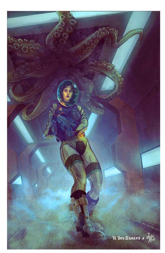 Alien Encounter Poster Mark Dos Santos 11x17 by DandGStudiosShop