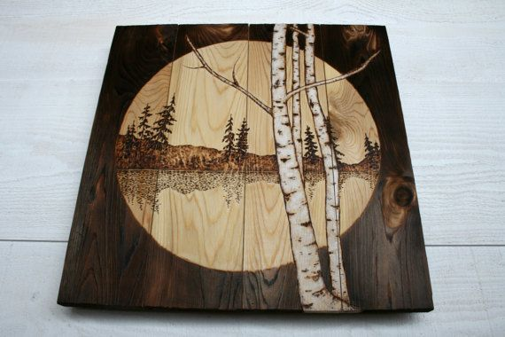 Wood Burned Wall Art 16 X 16 Inches Lakeside By Twigsandblossoms Wood Burning Crafts Pine Cone Crafts Beautiful Wood