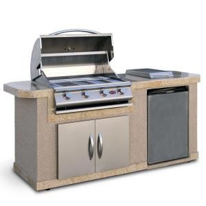 Cal Flame 7 Ft Stucco Grill Island With 4 Burner Gas Grill In Stainless Steel Lbk 701 A The Home Depot Outdoor Kitchen Island Grill Island Cal Flame