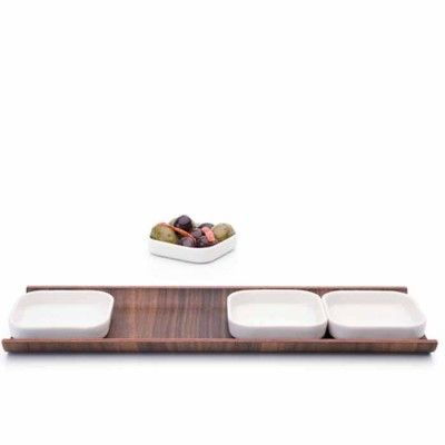 TAPASSCHAAL VAN PORSELEIN, wit, hout, tapas bowls, tapas dishes, white, wood