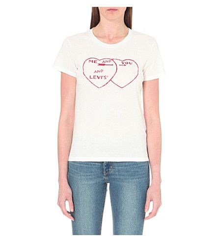 LEVI'S The Perfect Tee heart-print cotton-jersey t-shirt. #levis #cloth #tops
