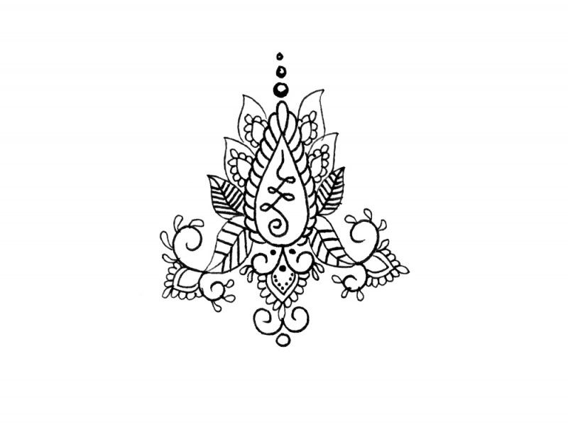 Here We Have An Exceptional Henna Inspired Unalome Temporary Tattoo