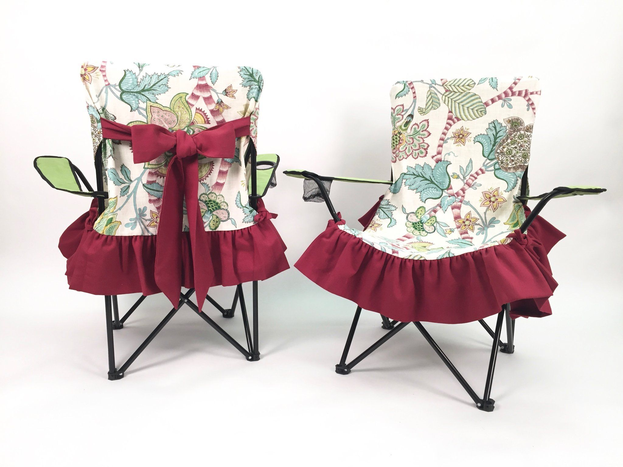 Vintage camping chair - Cranberry Shabby Chic Red Vintage Camping Chair Slip Cover Flowers And Red Silky Bows And