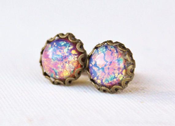 b54c517f7 Vintage Fire Opal Post Earrings,Antique Brass Post,Vintage Glass Opal,Pink  Opal,Birthstone Jewelry,Petite Post,Harlequin Opal,Keepsake