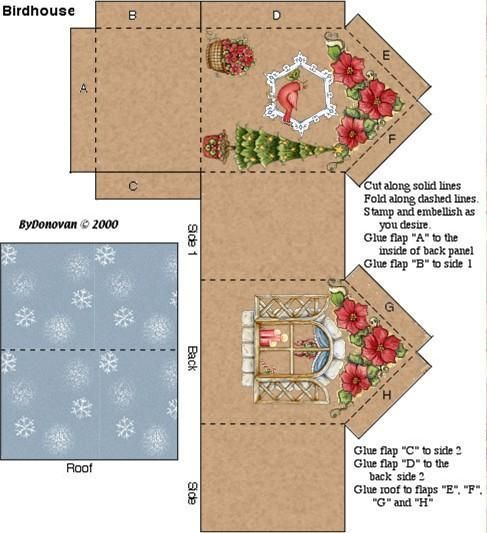 Image result for 3d paper house craft dies Digi Stamps - christmas paper template