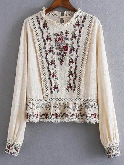 e2f6bb402e5d Tiny Floral Embroidered Round Neck Blouse - APRICOT S Mobile