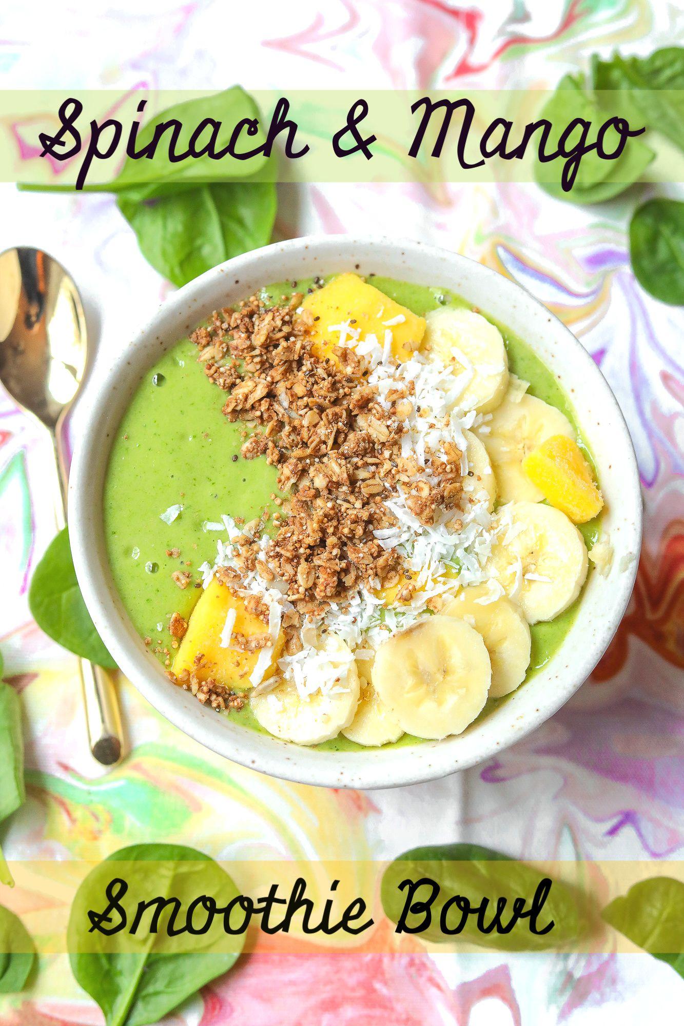 Vegan protein spinach mango green smoothie bowl
