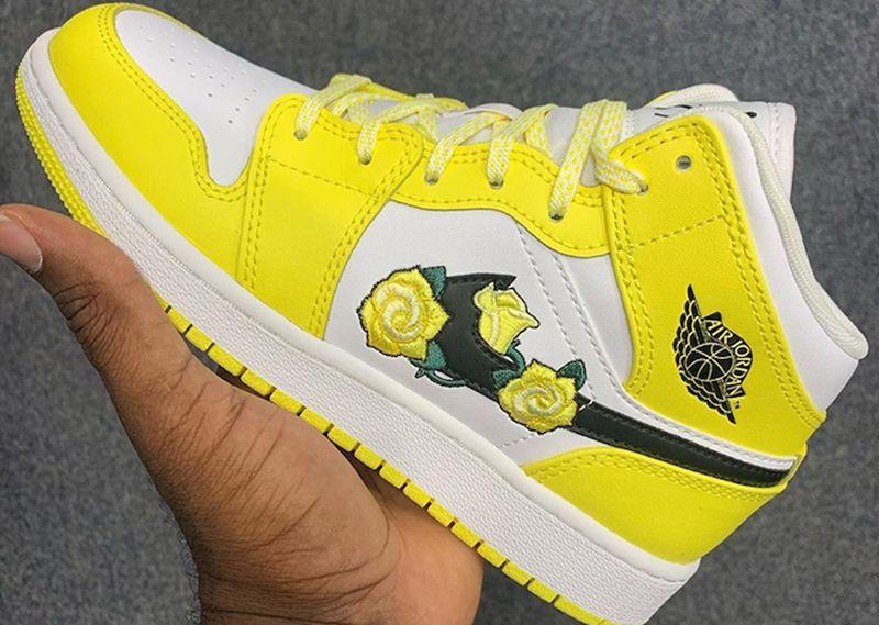 Air Jordan 1 Mid Yellow Flower Release