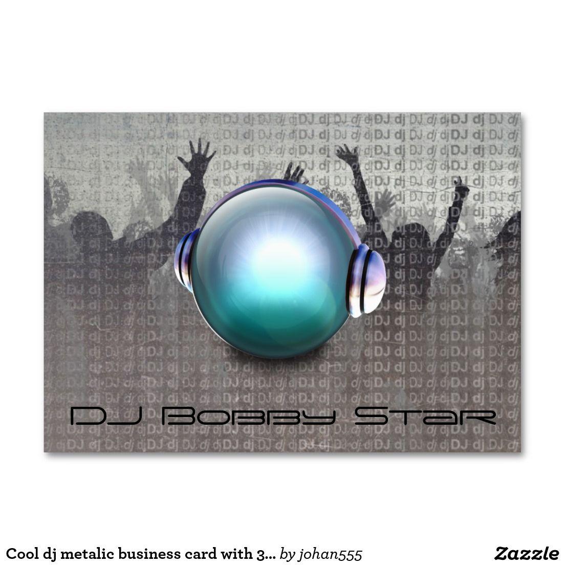 Cool dj metalic business card with 3D DJ logo. | DJ/Music Business ...