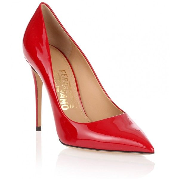 Salvatore Ferragamo Fiore 100 Red Patent Pump (2 870 SEK) ❤ liked on Polyvore featuring shoes, pumps, red, red patent pumps, pointed-toe pumps, high heel shoes, high heel pumps and pointy-toe pumps