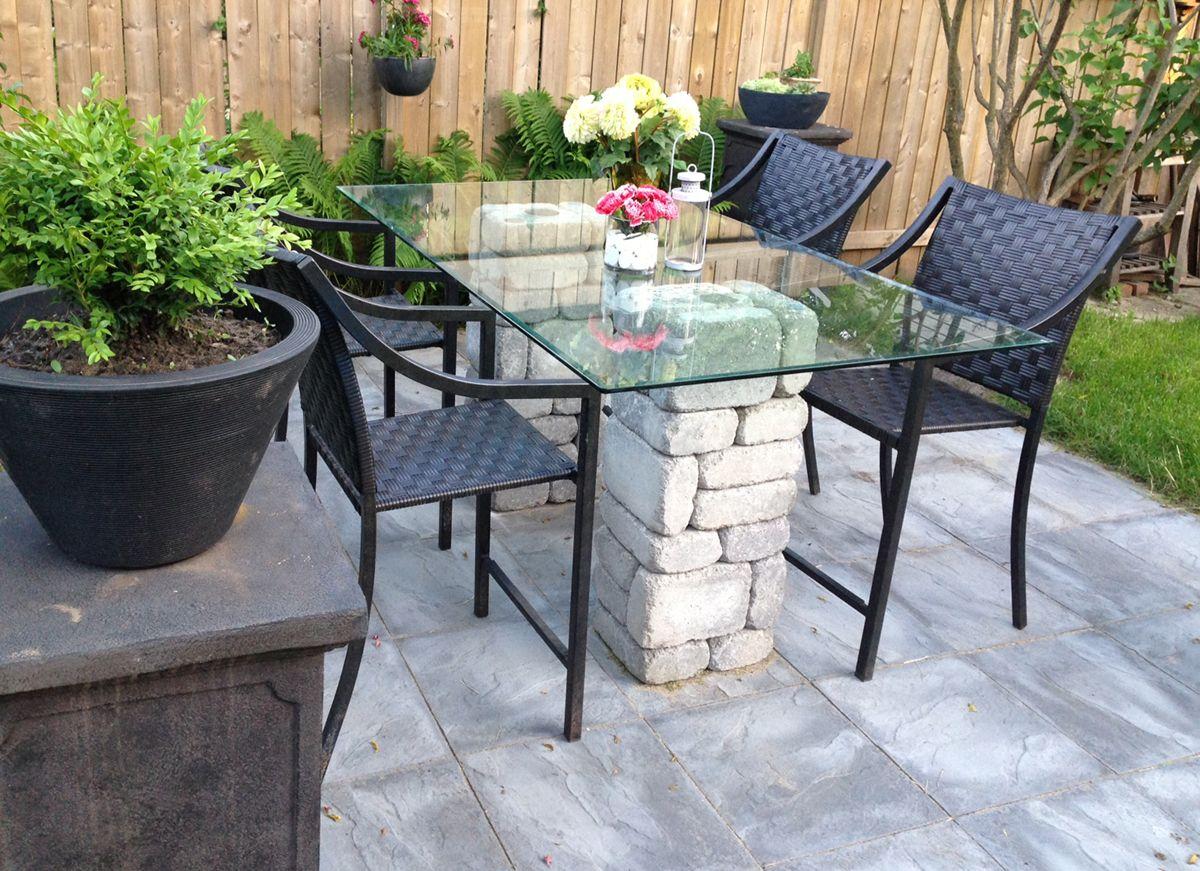 patio dining table using paver stones