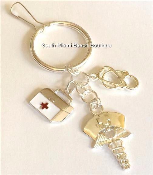 Silver Nursing Keychain Purse Tag Caduceus Stethoscope Nurse RN LPN CNA NP Gift #SouthMiamiBeachBoutique