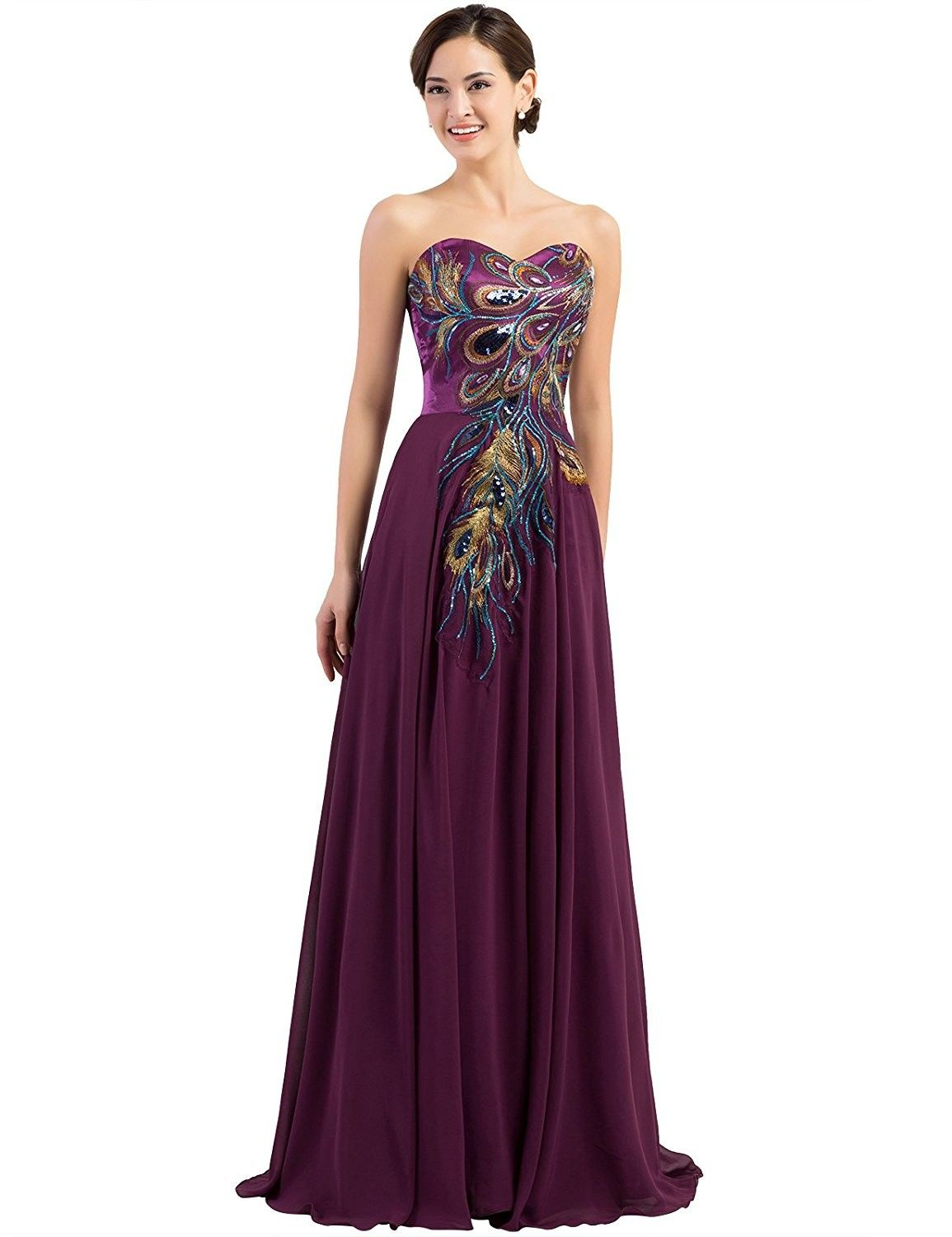 Womenus clothing dresses formal long strapless embroidery prom