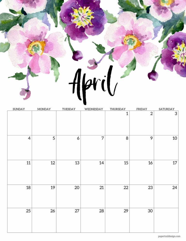 Free Printable 2021 Floral Calendar   Paper Trail Design in 2020