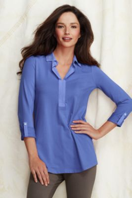 6ecba383d10 Blouse. One of my very favorite colors. --Women's 3/4-sleeve Lightweight  Cotton Modal Johnny Collar Tunic from Lands' End