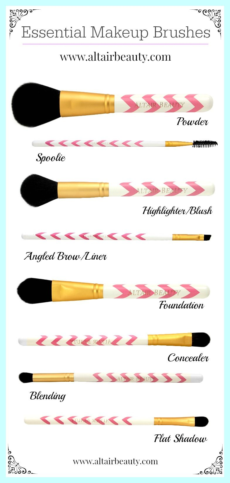 Essential Makeup Brushes from Altair Beauty! http//www
