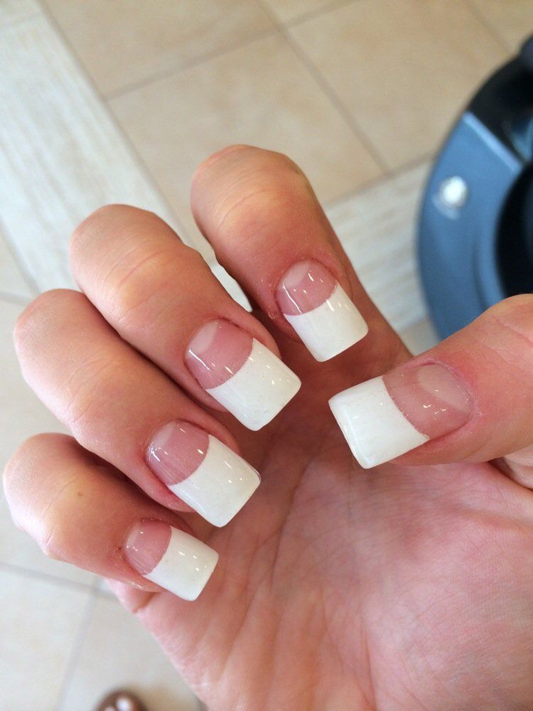 Fat French tip acrylic set, very well done by Danny. | Yelp | 3 ...
