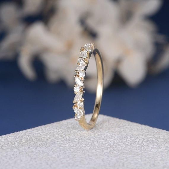 Photo of 18K Unique Cluster Band Moissanite Band Cluster Ring Yellow Gold Marquise Moissa…