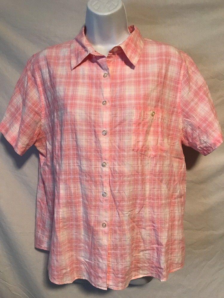 57c43a1c5cf263 L.L. Bean Women Large Pink Plaid Cotton Short Sleeve Button Down Shirt Top
