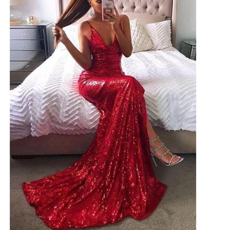 Bling Bling Sequin Prom Dress Red Evening Party Gown Slit Leg Spaghetti  Straps vestido de festa 51c4b6573