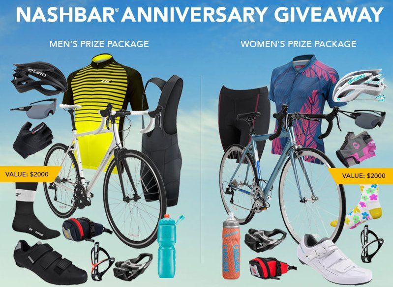 Grand Prize: Choice of Men's or Women's Bicycling Package including road bike, cycling kit, helmet, shoes, sunglasses, pedals and more. Worth up to $2,010.93.