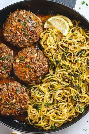 Cheesy Garlic Burgers with Lemon Butter Zucchini Noodles #ketodinnerrecipes