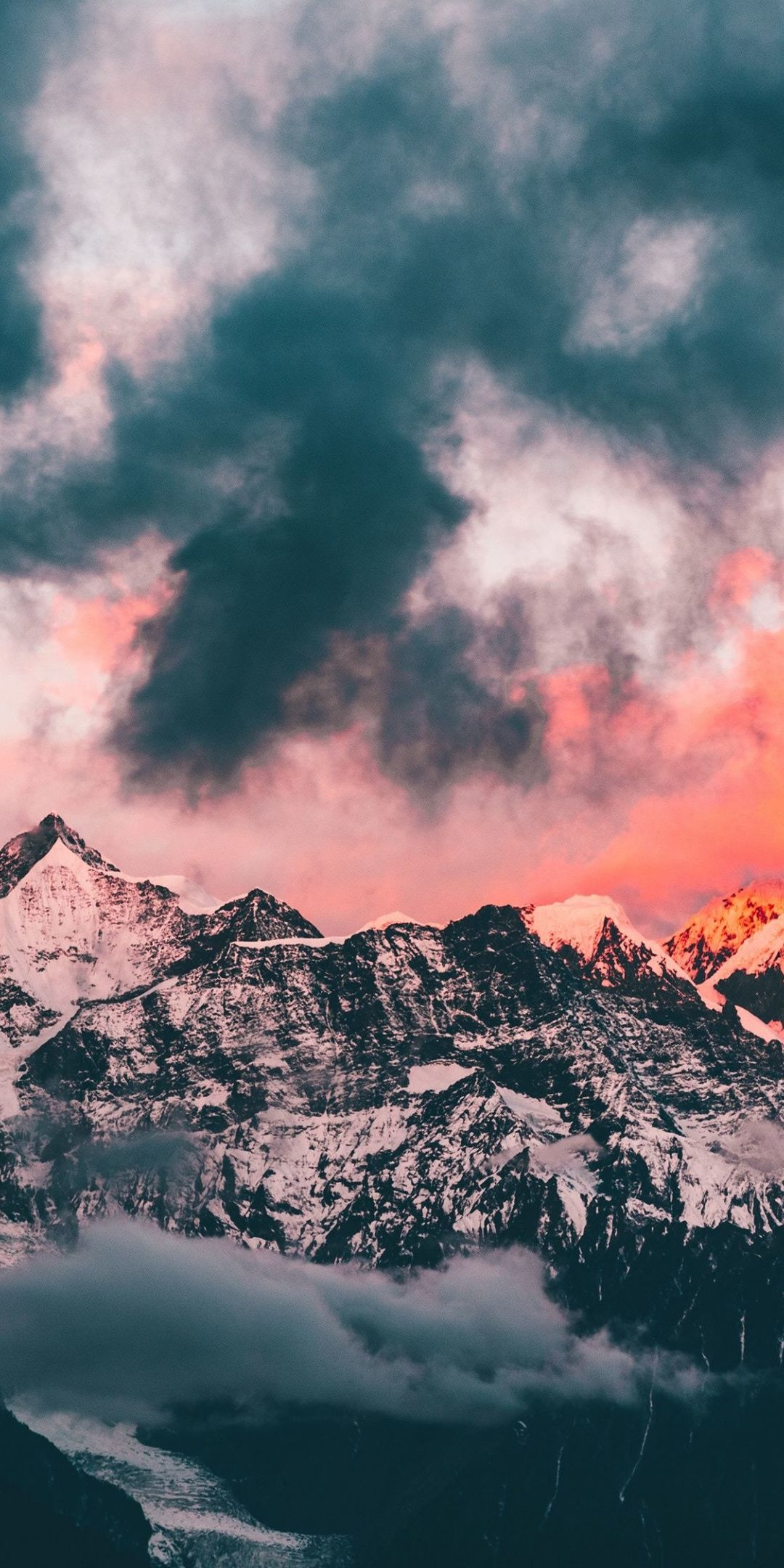 Clouds, sunset, glowing peaks, mountains, 1080x2160