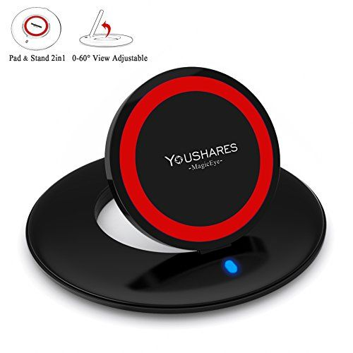 YOUSHARES MagicEye 2 in 1 Qi Wireless Charging Pad and Stand for Qi Devices  Red *** Learn more by visiting the image link.