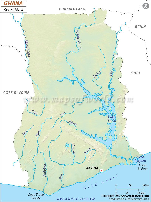 Ghana River Map | Ghana | Pinterest | Ghana, Rivers and Lakes