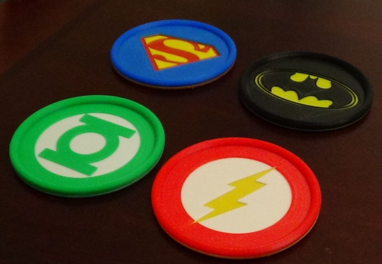 Justice League theme 3D  Printed coasters (Set of 4) by MoleDesigns on Etsy https://www.etsy.com/listing/229594435/justice-league-theme-3d-printed-coasters