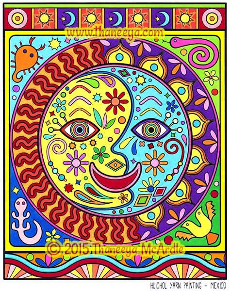Folk Art Google Search Moon Coloring Pages Yarn Painting Coloring Book Art