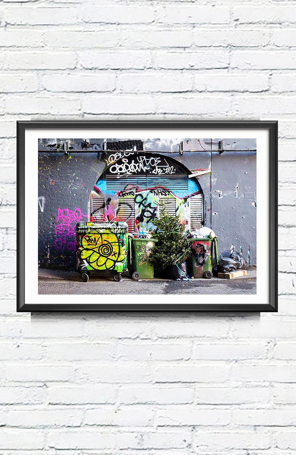 Christmas Graffiti Background.Framed Urban Print A3 Graffiti Photo Still Life Street