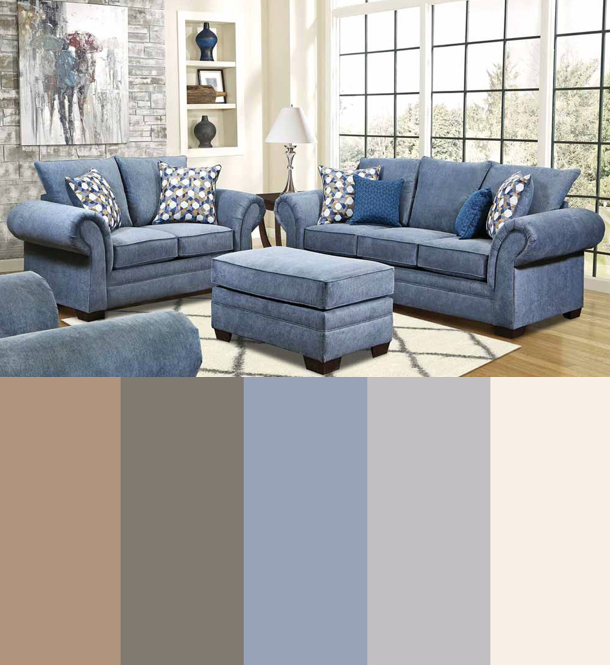 Blue Cream Tan White Sand Grey Color Scheme Light Bright Is All The Rage This Summer And Grey Kitchen Colors Living Room Color Schemes Blue Sofa Living