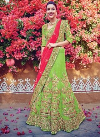 Pink Green Embroidery Work Silk Net Chiffon Designer Wedding Lehenga Choli http://www.angelnx.com/Lehenga-Choli/Wedding-Lehenga-Choli