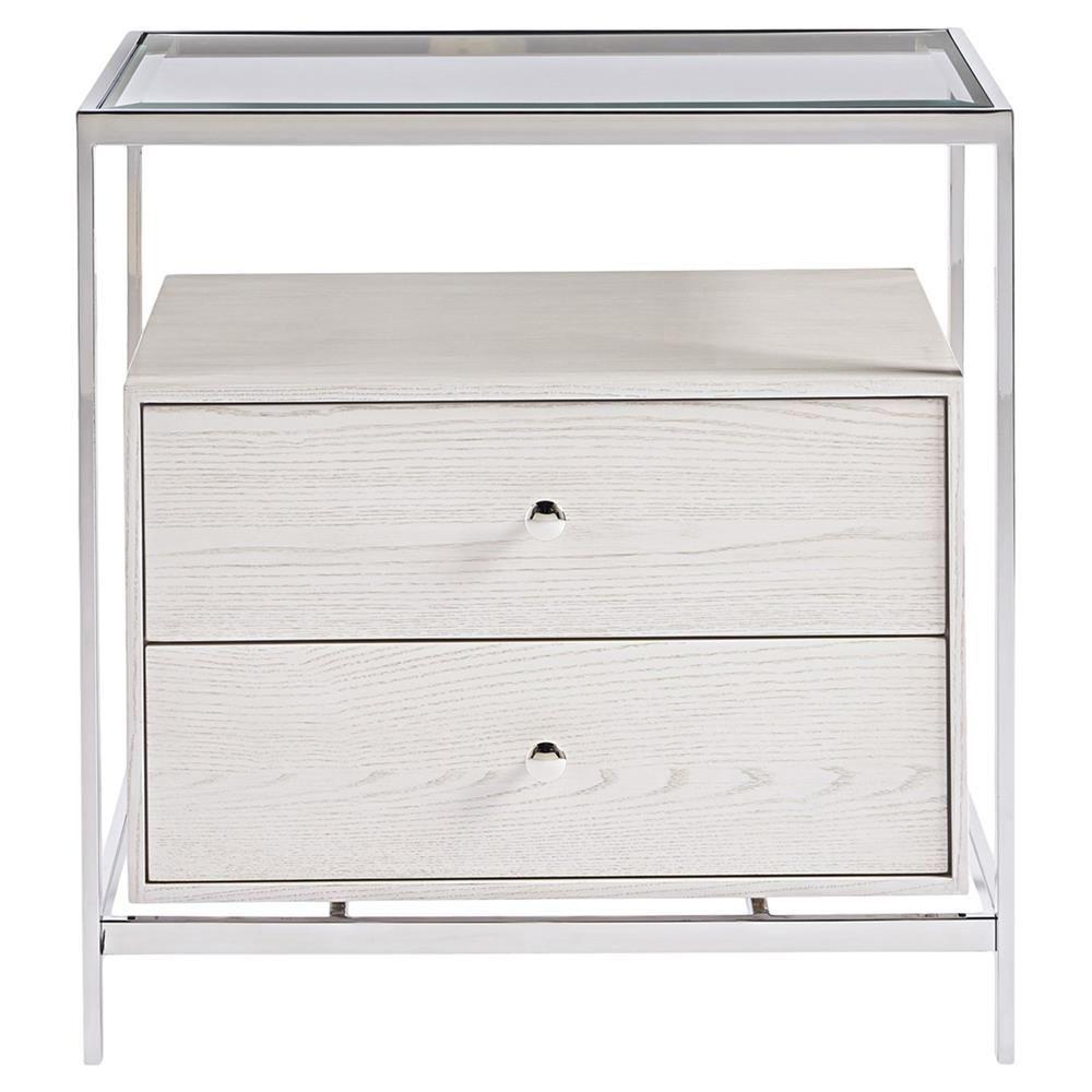 Annika Modern Classic Glass Top White Wood Nightstand Designer