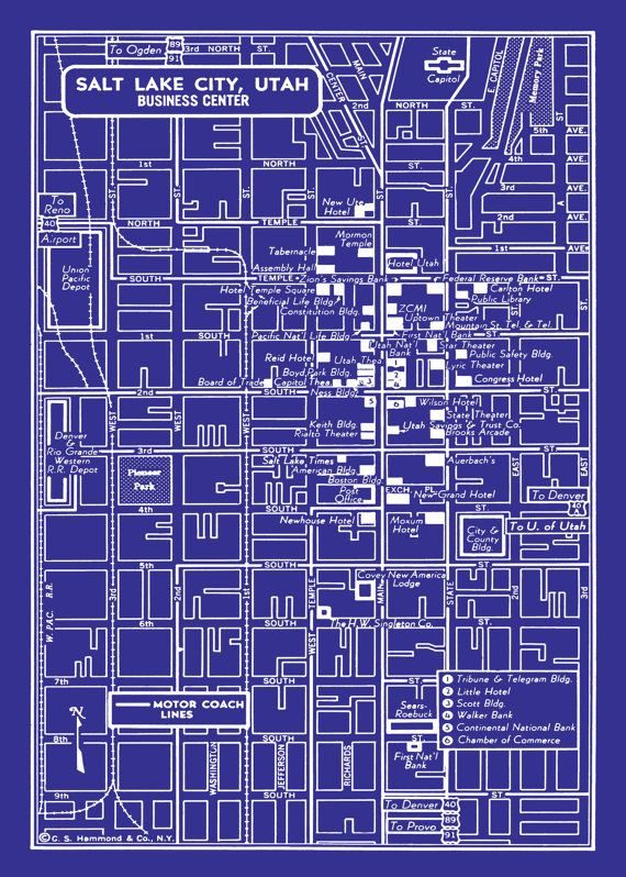 1949 vintage map of salt lake city utah blueprint map print poster 1949 vintage map of salt lake city utah 16x0 blueprint map print poster malvernweather Choice Image