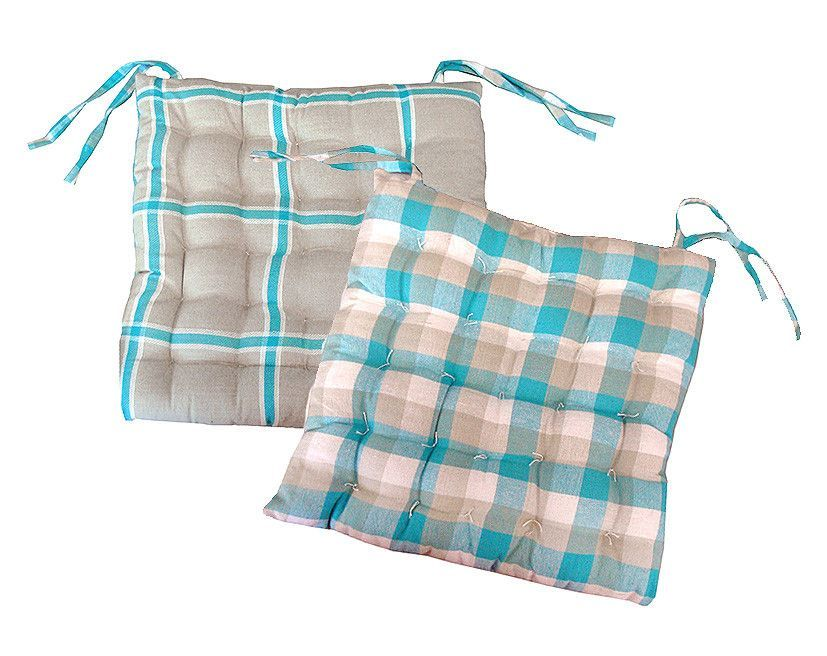 """15"""" Blue, White and Beige Plaid Reversible Indoor Chair Cushion with Ties"""