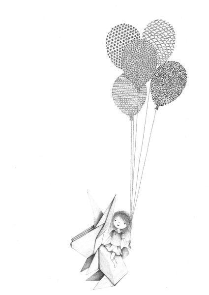 dessin r alis pour une chambre de petite fille balloons pinterest illustrations. Black Bedroom Furniture Sets. Home Design Ideas