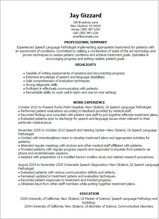 Professional Speech Language Pathologist Templates Showcase Your Pathology  Resume Latest Format  Speech Therapy Resume