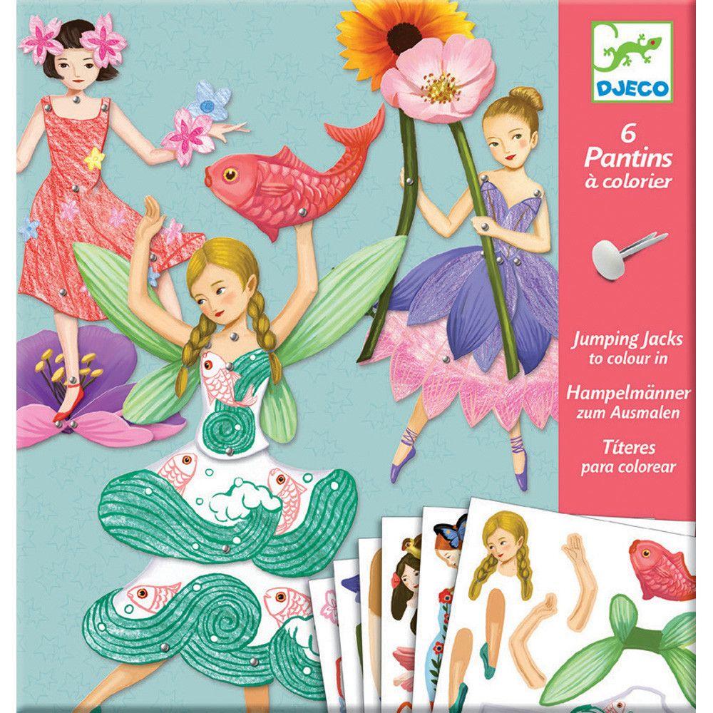Djeco Fairy Jumping Jacks Colorier Marionnette Papier Pantin