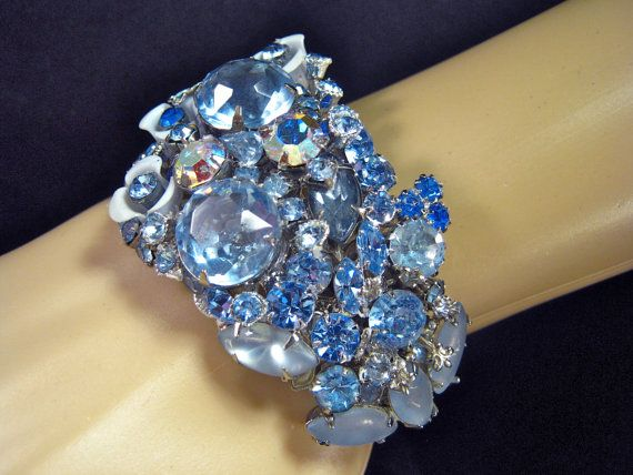 This one of a kind, vintage rhinestone cuff was created from more than 20 pairs of vintage rhinestone earrings! Wedding Bracelet Vintage Rhinestones by JenniferJonesJewelry, $175.00