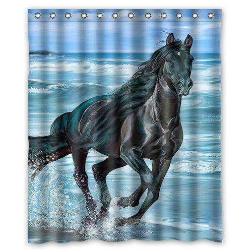 Black Horse Running On The Beach Custom Waterproof Shower Curtain