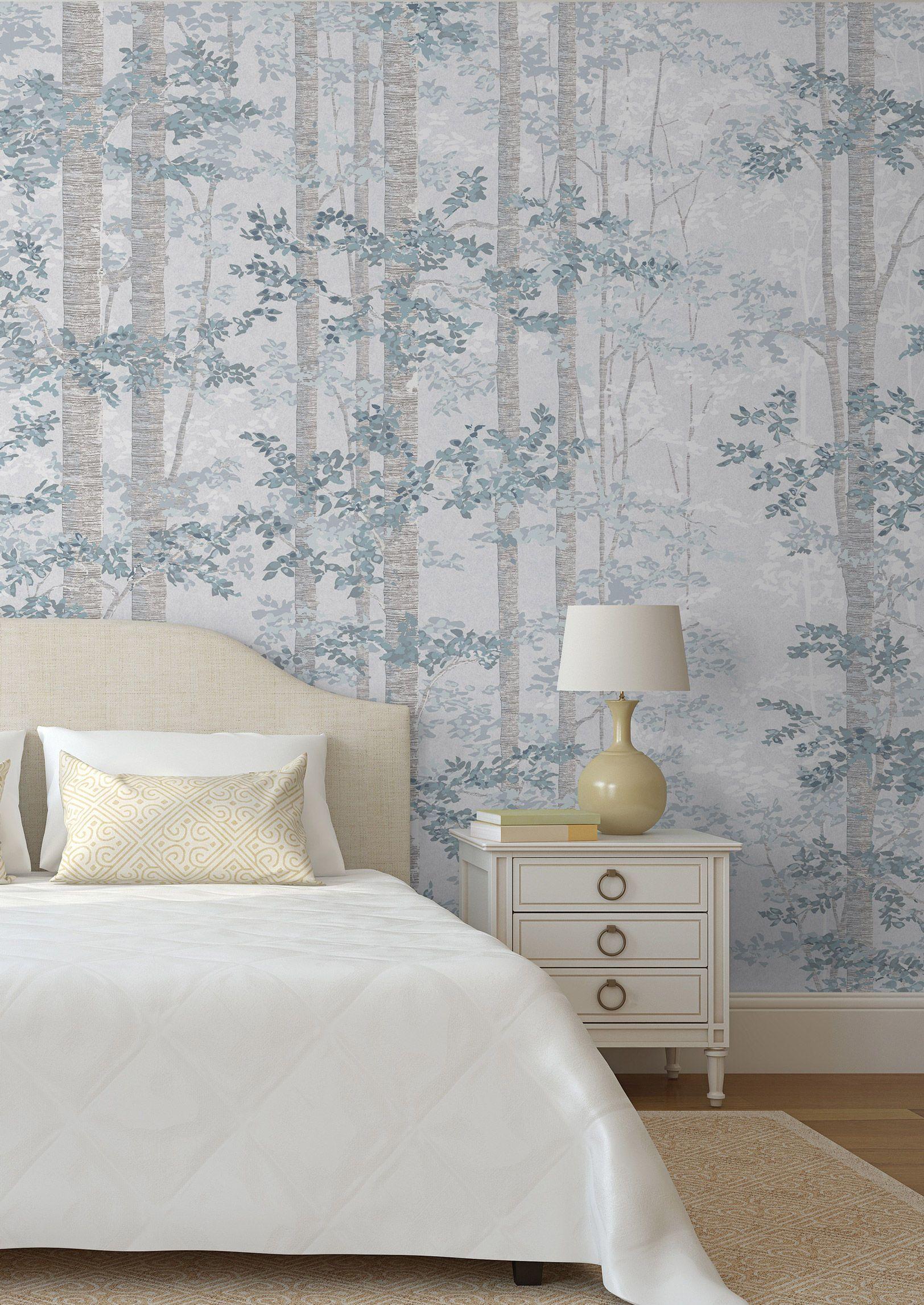 bosky  lewis  wood in 2020  guest room wallpaper blue