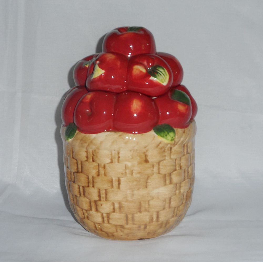 "Apple Cookie Jar Fruit Treat Storage Container 9"" Basket of Apples By Alco  #Alco"