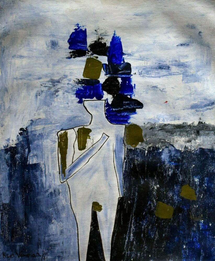 Vintage Abstract Canvas Signed Keith Vaughan, Modern Old