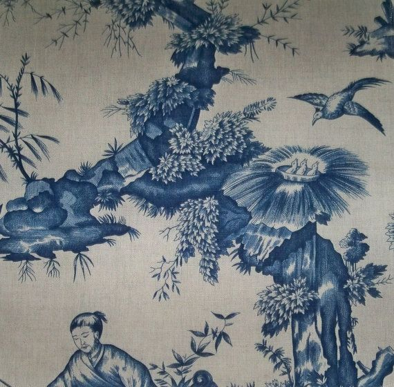 SCHUMACHER CHINOISERIE ASIAN Cathay Cotton Linen Toile