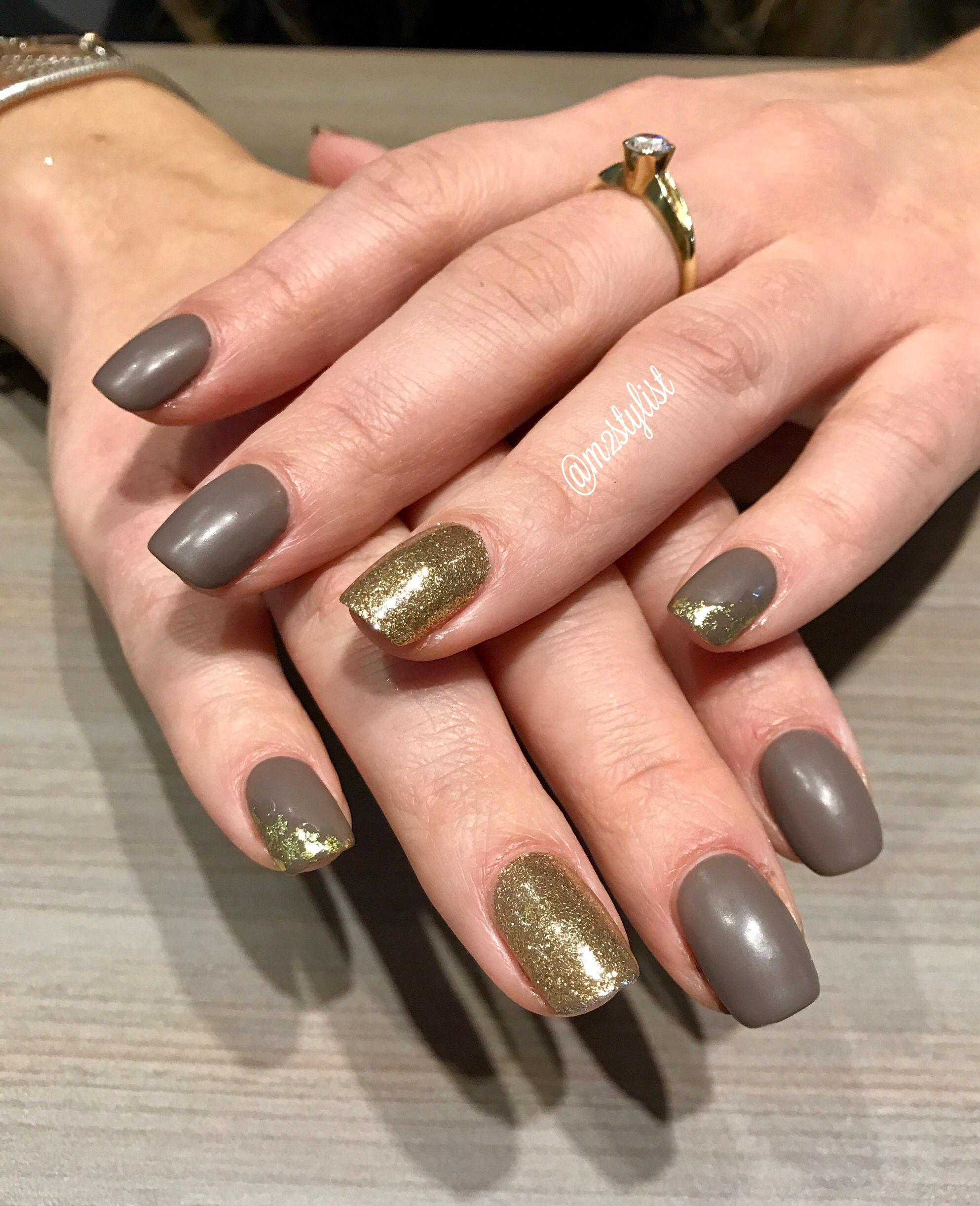 Neutral with gold glitter accent nail | M2stylist creations ...
