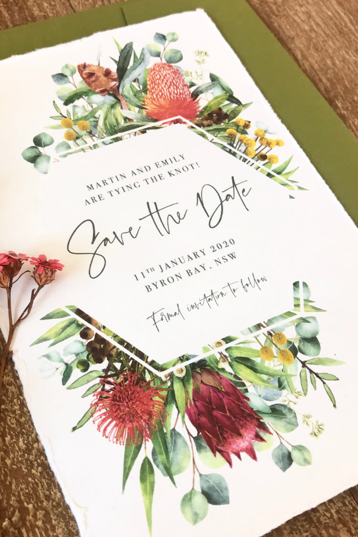 These Rustic Save The Dates Feature An Abundance Of Australian Native Wedding Invitations Australia Colorful Wedding Invitations Australian Wedding Invitations